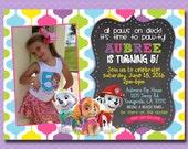 Paw Patrol Birthday Invitation, Paw Patrol Invitation, Girl Birthday Invite, Paw-Ty, Chalkboard, With Photo, Digital File Printable 5x7