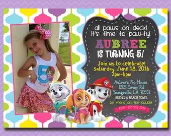 Paw Patrol Birthday Invitation, Paw Patrol Invitation, Girl Birthday Invite, Paw-Ty, Chalkboard, With Photo, Digital File Printable 5x7