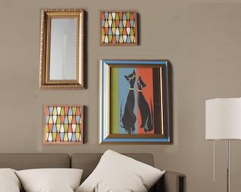 modern wall art - Cool Cats Atomic  - a 4 pc wall art collection