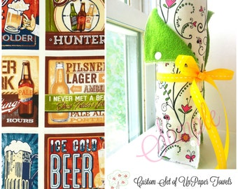 Unpaper Towels | Snapping Reusable Paper Towels | Eco Friendly Cloth Paper Towels | Half Set of 6 | Cheers Beer Signs Fabric