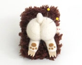 Pincushion wearable wrist pin cushion : needle felted animal butt - white bear butt with dark brown strap
