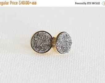 Valentines Day Sale Sparkling Platinum Natural Druzy Stud Earrings - Gold or Sterling Silver