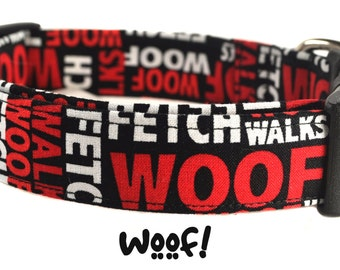 Woof! - Black and Red Dog Collar