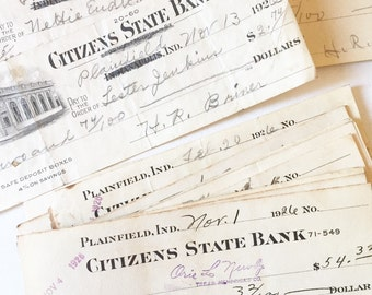 Lot of Antique Checks, Bank Book and Statements