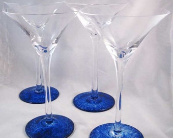 Cobalt Blue Swirled At Base Martini Glasses (5) Hand Blown