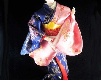 Japanese Geisha Doll Glass Eyes Gofun Purple Silk Kimono & Obi
