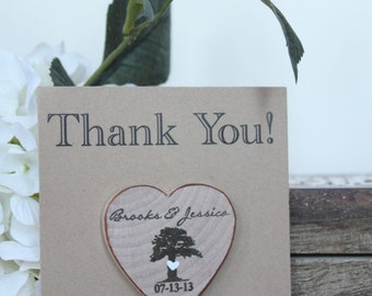 Rustic Wedding Favor Wood Magnets tree magnets wooden magnets rustic mangets Custom Save the date Tree heart shape