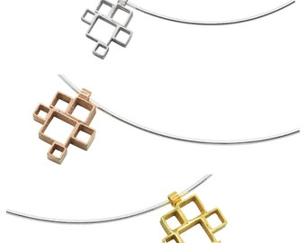 Sterling silver geometric  'Blox' pendant on omega wire