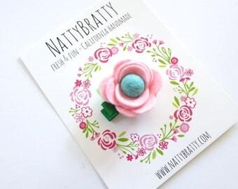 Pale Pink Felt Flower Hair Clip - Baby Girl - Flower Clip - Modern Blossom Clippie - Felt Rosette - Felt Rose - Modern Style - Baby Gift