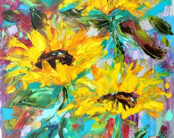 Sunflower painting original oil on canvas palette knife 12x16 impressionism fine art by Karen Tarlton