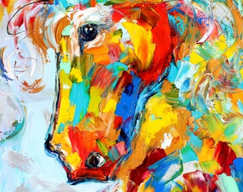 Horse painting original oil on canvas palette knife 12x16 impressionism fine art by Karen Tarlton