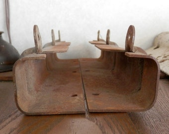 pair (2 pc) antique original hoosier, boone, sellers kitchen cabinets