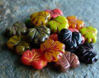 Autumn Maple Leaf bead mix, Czech glass bead mix, glass leaf beads, large leaf beads, 11x13mm (36pcs) NEW