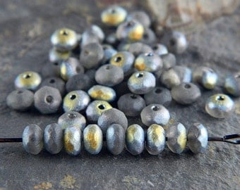 Matte Gray Czech Rondelle Beads, Fire Polished beads, facetted glass donut beads, 3X5mm Matte Gray & Marea (100pcs) NEW