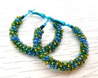 Blue Green Bead Hoops, Beaded Hoop Earrings, Colorful Hoops, Gifts for Her, Gypsy Earrings, Sweet 16, Cute Earrings, Boho Hoop Earrings
