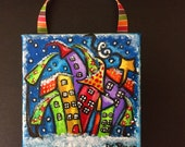 Winter Joy 4 x 4 Canvas Christmas Ornament on Stretched Canvas