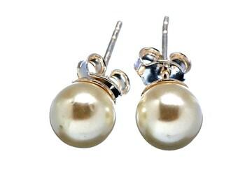 Pearl Stud Earrings 8mm Cultured Genuine Real FW Pearls Pearl Stud Earrings in Sterling Silver Stud Earrings