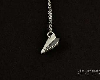 Small / The Original HandFolded Paper Airplane Necklace / Sterling Silver