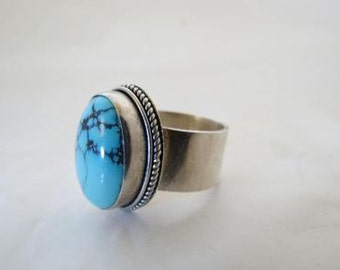 Sterling Turquoise Cabochon Artisan Modernist Ring