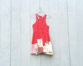 funky little red patchwork Dress wearable art - upcycled clothing women's clothing tattered and raw artsy cltohing by CreoleSha