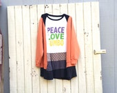 upcycled Peace Love and Gumbo tunic dress black  clothing Patchwork flowing Dress Funky Tunic Dress Eco Dress Artsy Dress CreoleSha