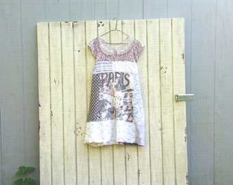 Paris funky tattered Gypsy knit and cotton tunic upcycled romantic Upcycled clothing Dress Eco Dress / Artsy Dress by CreoleSha