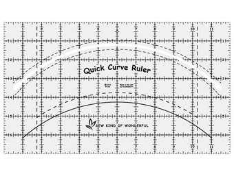 Quick Curve Ruler - Sew Kind of Wonderful SKW QCR - Quilter's Tool - Urban Runner Free Pattern - Curved Piecing - Quilting Ruler