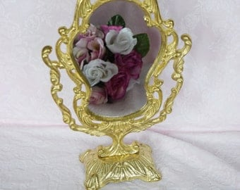 Vintage VANITY DRESSER Brass MIRROR Tilt Stand Make up Victorian Style Makeup Ladies Emboss Raised Ornate Scroll Design Boudoir Gold Finish