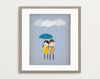 Rainy Day Love 2 - Customizable 8x10 Archival Art Print
