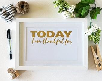 SALE! Daily Gratitude Gold Foil Art Print ~ Framed Gratitude Wall Art ~ Best Friend Gift ~ Inspiration Wall Art ~ Gifts for Her
