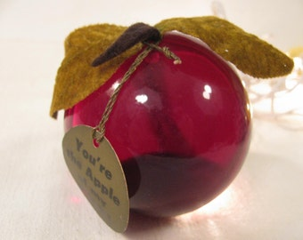 """Lucite / Acrylic Apple - Rare Vintage Red """"Day Zee""""  Apple - Life Size - Hand Crafted - Sun Catcher - Paper Weight - Day Zee Line"""