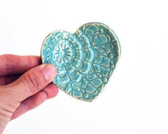Turquoise Heart - Ring Dish - Coffee Spoon Rest - Ceramic, Pottery, Handmade - Aqua - Jewelry Dish, Bridesmaid Gift,  Tea Bag Rest