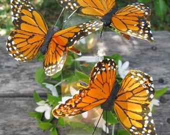 3 - Monarch Orange Feathers  Butterflies Hair Clips for weddings