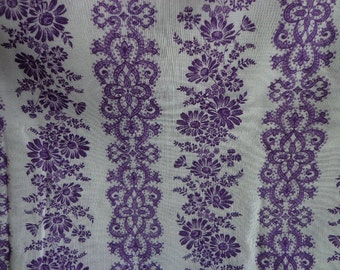 Vintage Marcus Brothers Fabric Purple and White Floral Pattern Gauze Like, Two Yards