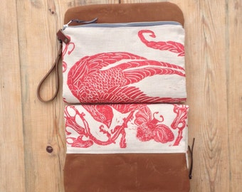 Hand block printed linen & waxed canvas foldover zip pouch clutch with leather wristlet