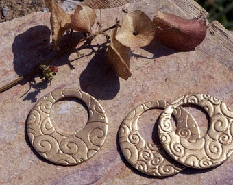 Bronze Hoops 30mm Doodle - Grecas Textured for Earrings or Pendant