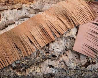 """Vegan cork leather fringes, 7.5cm/ 3"""" wide, DIY tassels, embellish your bags, purses, jewelry, boots, key chains, shoes, leather goods"""
