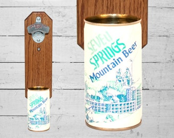 Seven Springs Bottle Opener with Vintage Wall Mount Beer Can Cap Catcher Great For Groomsmen