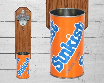 Sunkist Wall Mounted Bottle Opener with Vintage Soda Pop Can Cap Catcher - Unique Gift for Guy Housewarming Gift