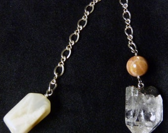 Sun, Moon and Quartz Pendulum! Sunstone, Moonstone, Sterling Silver, Dowsing, Meditation, intuition, Healing, Divination, Reiki, Magic
