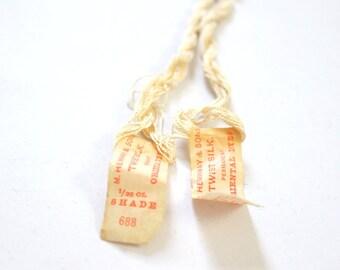Antique Silk Thread M. Heminway & Sons Beige Embroidery x2
