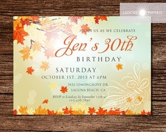 Fall invitations etsy fall birthday invite fall invitation rustic invite printable birthday invite birthday invitation filmwisefo Images