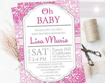 Baby Shower, Printable, Dahlia Invitation, Dahlia Printable Invitation, Baby Shower Invitation, DIY, Pink, Birthday Invite, jadorepaperie