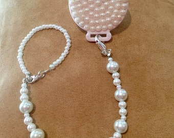 White Pearl Pacifier Clip