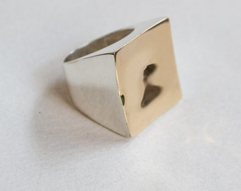 Square Twotone Ring, Statement Ring, silver gold Ring, Bohemian Ring, Chunky Ring, Boho jewelry, Large silver ring - Geometric - R2263G