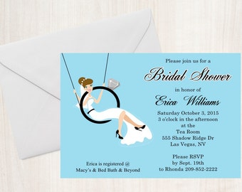 Bridal Shower Invitation / BRIDE in a RING/ PRINTED /Set of 10 / Free Shipping