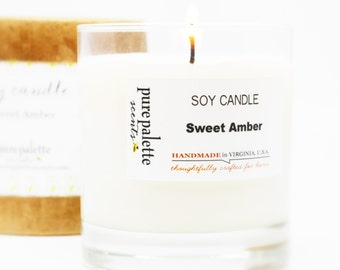 Sweet Amber Scented Soy Candle in 11 oz. Glass Jar with Round Box