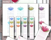 2016, 2017 Printable Pocket Size Calendar Planner Instant Download Monthly Bookmark Perpetual Weekly Calendar PDFs Filofax Refills