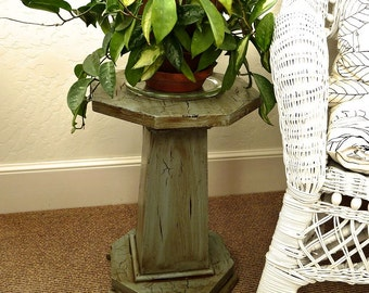 """Antique Oak Plant Stand Crackled Blue-Green Octagon Top, Square, Tapered Post, 18"""" tall REDUCED"""