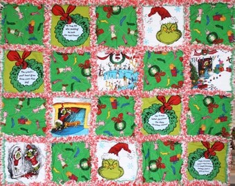Grinch Rag Quilt Kit-Pre-cut and Pre-snipped